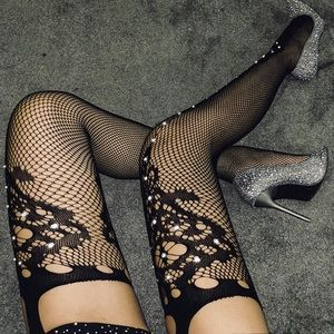 a9c8e3b60 ASOS Accessories - 🖤 Sparkle Embellished Cutout Fishnet Tights 🖤
